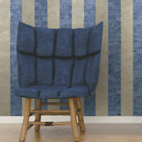 Wallpaper blue gray rusted brass gold metallic stripes Striped Textured rolls 3D