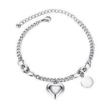 Edelstahl Damen Armband Herz Anhänger mit Gravur Panzerkette silber 17 bis 22 cm