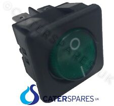 16A GREEN NEON ROCKER SWITCH POWER ON OFF DOUBLE POLE 4 PIN 25X25MM SQUARE IP40