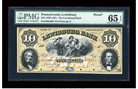 1850's Lewisburg, Pennsylvania - Lewisburg Bank $10 PROOF PMG 65 EPQ GEM