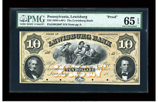 1850's Lewisburg, Pennsylvania - Lewisburg Bank $10 PROOF PMG 65 EPQ GEM