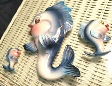 3 Vintage Ceramic Dolphins Lefton Wall Plaques Good Condition Cute Dolphins!
