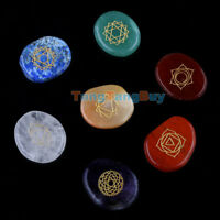 7Pcs/Sets Engraved Chakra Stone Palm Stone Crystal Reiki Healing With One Pouch