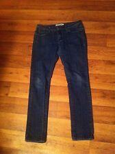 Skull Women's 11/12 Low Distressed Stretch 5 Pkt Dk Skinny Jeans 30x30.5