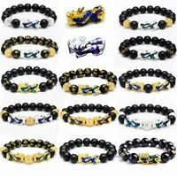 Feng Shui Black Obsidian Beads Pi Xiu Attract Wealth Lucky Bracelet Unisex Xmas