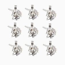 5X Lucky Unicorn Pearl Cage Silver Plated Pendant For Oyster Pearl Wish Necklace
