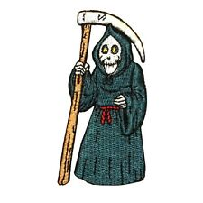 ID 0886 Grim Reaper Angel of Life & Death Robed Skeleton Iron On Applique Patch
