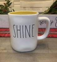 Rae Dunn - Shine LL - White Ceramic Coffee Mug w/ Yellow Interior