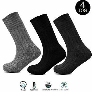 Mens Casual Work Dress Non Elastic Wool Thermal Socks Heavy Duty Warm Winter