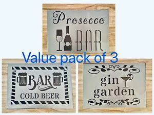 A4 Bar Stencil Sign PACK OF 3 Garden Gin Beer Prosecco Pub Wall Craft Decor
