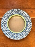 Estate Burnes of Boston Blue Floral Resin with Light Green Round Picture Frame –