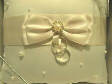 "New Nib Lillian Rose Ring Bearer Pillow 7"" Ivory Satin Pearl Cushion Rhinestone"