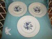 "Enoch Wedgewood Tunstall England Royal Blue Ironstone (6) Dinner Plates 10"""