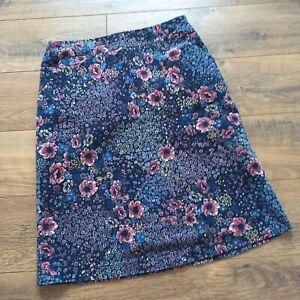 Country Rose Ladies Floral Velvet Skirt UK 10 Cottagecore Pockets Knee Length