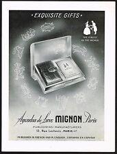 1955 Vintage Agenda De Luxe Mignon Note Book Gift Box Zodiac Art Print Ad