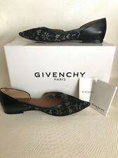 Givenchy black lace flats Sz 37.5 7.5 cut-outs pointy ballet leather w/ box