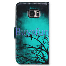Bocov Black Bird Green Wallet Leather Cover Case For Samsung Galaxy S7
