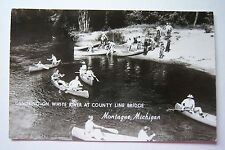 Canoeing on White River at County Line Bridge, Montague, Michigan RPPC postcard