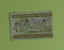 1959 Nebraska Upland Game Bird Habitat Hunting Stamp License...Free Shipping!