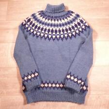 Unisex Mens Ladies Vintage Blue Icelandic Wool Fairisle Nordic Jumper S #E2326
