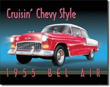 Cruisin Chevy Style 1955 Bel Air Car Vintage Retro Tin Sign Garage Metal Poster