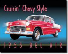 Cruisin Chevy Style 1955 Bel Air Car Vintage Retro Tin Sign Garage Metal Poster