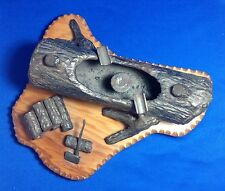 "1930s COUNTRY FOLK ART, IRON AND WOOD, CHOPPING WOOD ASH TRAY, 9.5""x8.5""x4.5"""