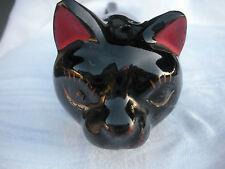 Vintage Redware Long Black Cat BBQ Salt or Pepper Shaker