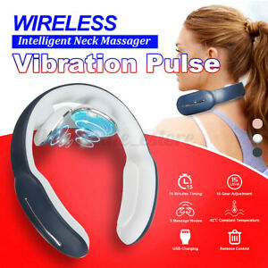 Electric Neck Cervical Massager Magnetic Pulse Wireless Rechargeable + Remote