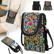 Latest Lady Cell Phone Bag Wallet Retro Embroider Purse Messenger Crossbody Bag