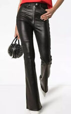 $1400 SPRWMN HIGH-WAISTED FIVE POCKET ZIP ADORNED LEATHER FLARED PANTS, SZ S NWT