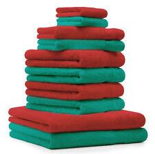 Betz Juego de 10 toallas CLASSIC 100% algodón de color verde esmeralda y rojo