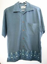 Havana Shirt Co Shirt Rayon / Polyester Embroidered Blue Short Sleeve Size Small