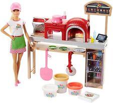 Barbie Métiers Coffret poupée avec kit pizzeria, pâte à modeler, four et caisse