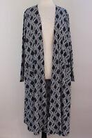 Large LuLaRoe Noir Blanc Sarah Duster Ribbed Cardigan Black White Cross Weave 27
