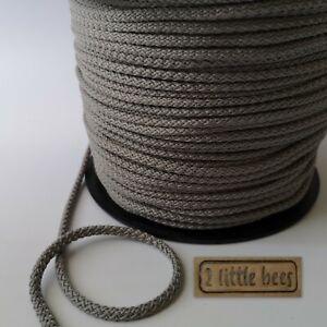 5mm Strong Cord Rope Grey Round Drawstring Tying Travel Crochet Craft UK