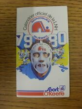 1979/1980 Fixture Card: Ice Hockey - Nordiques Quebec (fold out style). Any faul
