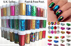 30/50/100 Art Nail Foils WrapsTransfer Glitter Sticker Polish Decoration UK