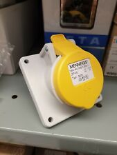 Mennekes type 3031 3 pin 16 amp  ip44 110v yellow plug panel mounted