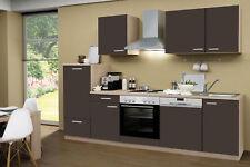 Menke Einbauküche Küchenzeile Küche Küchenblock 280 cm Eiche Sonoma grau matt