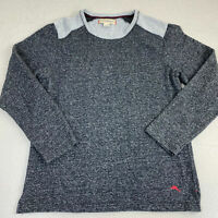 Tommy Bahama Crew Neck Sweater Mens L Gray Cotton Tight Knit Side Slit Pullover