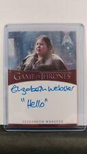 Game of Thrones Season 8 Elizabeth Webster (Walda Bolton) Inscription Auto Card
