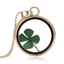 Natural Real Dried Flower Four-leaf Clover Glass Pendant Necklace Womens Jewelry