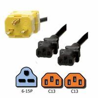 NEMA 6-15P to 2x C13 Y Splitter Power Cord, 3 ft, 15A/250V 14 AWG