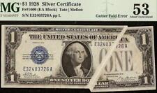 1928 $1 DOLLAR MAJOR GUTTER FOLD ERROR FUNNYBACK NOTE SILVER CERTIFICATE PMG 53