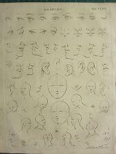 1797 georgiano impresión ~ Dibujo varios ejemplos cara ojos, orejas, nariz, boca Etc