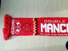 Manchester United Football Scarf. Red Man Utd 1995-1996 Double Winners Champions