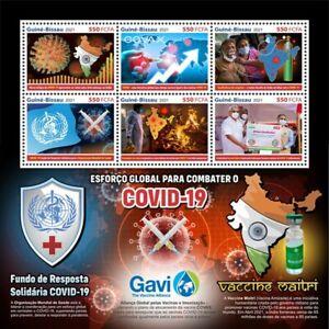 Guinea-Bissau 2021 MNH Medical Stamps Corona Covax Vaccines Gavi Maitri 6v M/S