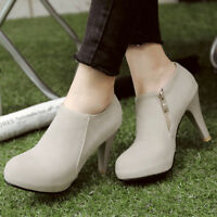 Women Ankle Boots Platform Suede Round Toe Zip Plus Size High Heel Booties Shoes