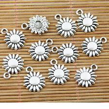 60pcs tibetan silver tone 11.7mm flower charms EF1571